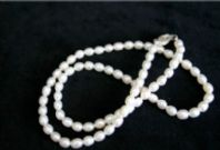 5mm Oval White Freshwater Pearl Necklace with Hallmarked Silver Clasp